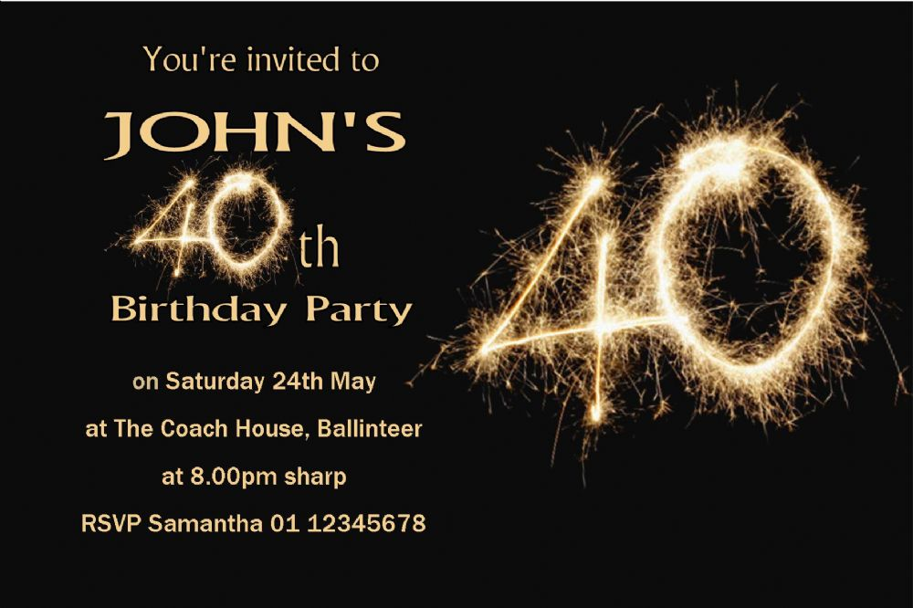 personalised 40th birthday invitation